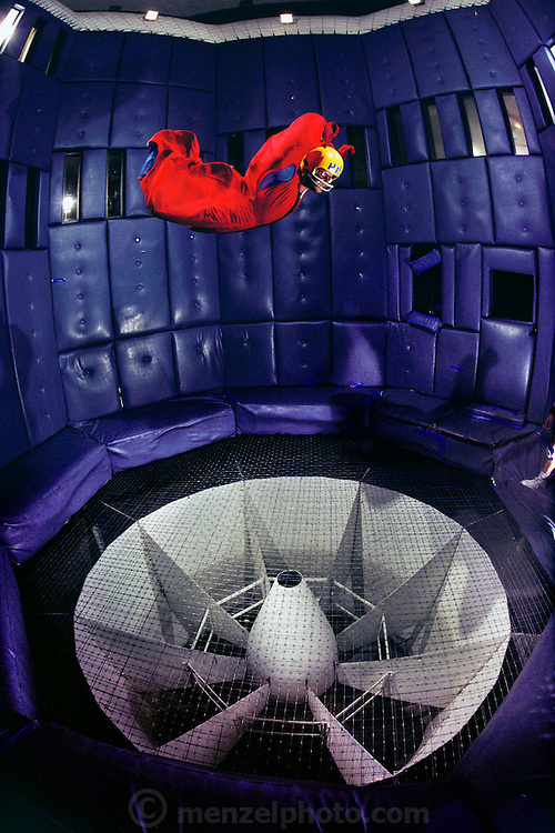 Flyaway skydiving simulator.  A vertical wind tunnel propels a 'flyer' into the air, simulating free flight.  Las Vegas. USA.