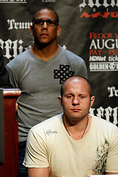 """June 3, 2009; New York, NY, USA; Fedor Emelianenko, with Affliction VP Tom Atencio at the press conference announcing his fight against Josh Barnett at Affliction M-1 Global's """"Trilogy"""".  The two will meet on August 1, 2009 at the Honda Center in Anaheim, CA."""