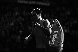 November 16, 2017 - London, England, United Kingdom - Roger Federer of Switzerland celebrates victory in his Singles match against Marin Cilic of Croatia during day five of the Nitto ATP World Tour Finals at O2 Arena on November 16, 2017 in London, England. (Credit Image: © Alberto Pezzali/NurPhoto via ZUMA Press)