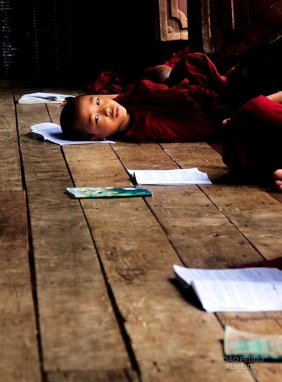 Novice monks at classroom