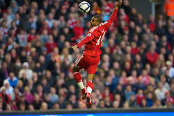 LIVERPOOL, ENGLAND - Monday, April 19, 2010: Liverpool's David Ngog in action against West Ham United during the Premiership match at Anfield. (Photo by: David Rawcliffe/Propaganda)