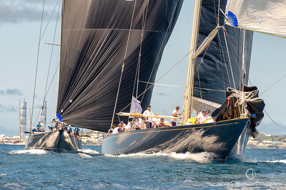 Bermuda, 14th June 2017. America's Cup Superyacht regatta. J Class race Two. (L to R) Hanuman JK6 and Velsheda JK7