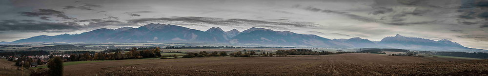 A panorama of the Tatras Mountains of Slovakia looking north at dawn from just outside Vavrišovo.