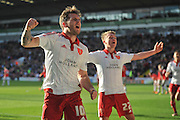 Sheffield United forward Billy Sharp (10) celebrates with Sheffield United midfielder Louis Reed (22) after scoring to go 3-2 up during the Sky Bet League 1 match between Sheffield Utd and Crewe Alexandra at Bramall Lane, Sheffield, England on 25 March 2016. Photo by Ian Lyall.