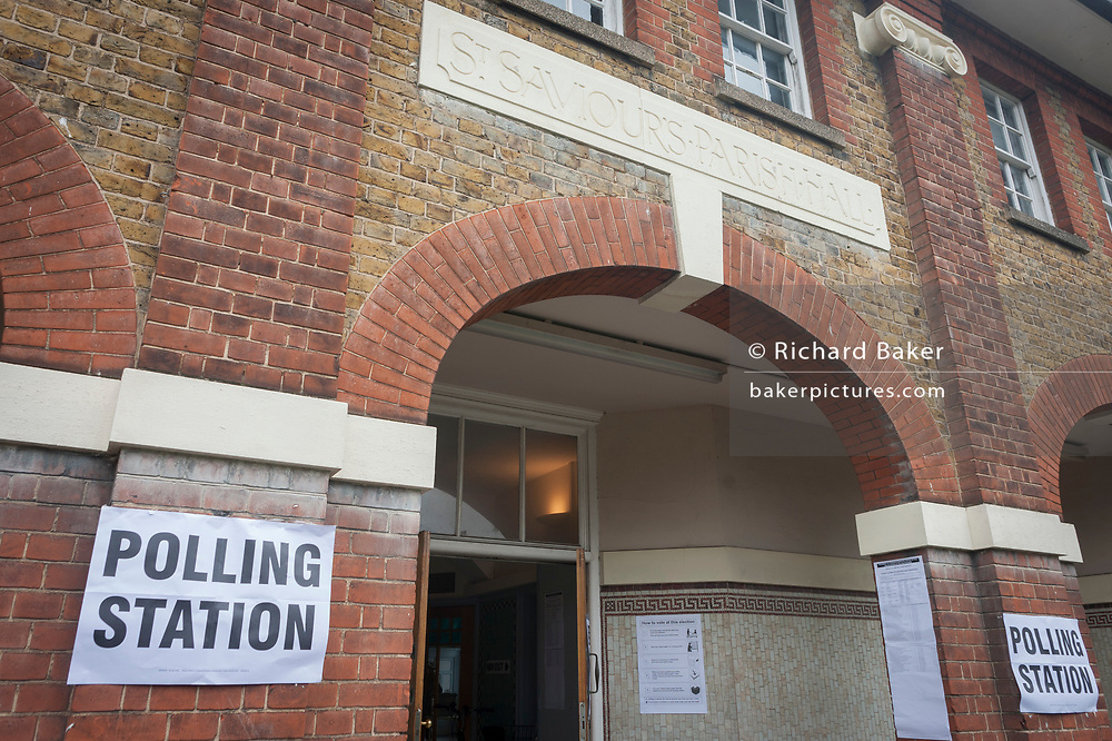 Exterior of the polling station on the morning of the UK 2017 general elections outside St. Saviour's Parish Hall in Herne Hill, Lambeth, on 8th June 2017, in London, England.