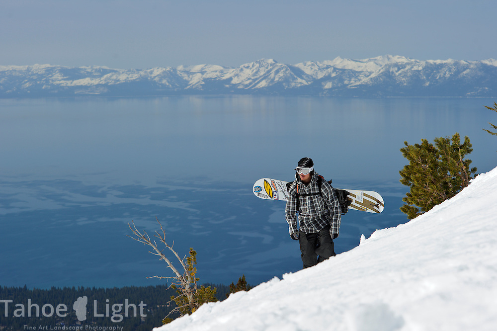 Snowboarder Nick Langkamp on top of Incline Peak