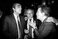 Roma .Roma Anni '80 .Consiglio Nazionale della Democrazia Cristiana a Palazzo Sturzo. Angelo Sanza, Cirino Pomicino, Franco Evalgelisti,
