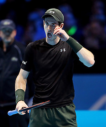 Andy Murray during his match against Kei Nishikori during day four of the Barclays ATP World Tour Finals at The O2, London.