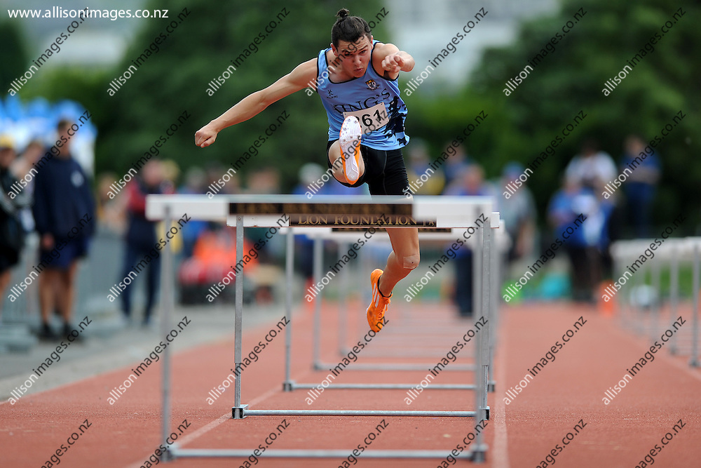 Action from the boys senior 110m hurdle race, during Otago Secondary School Athletics Champs, held at the Caledonian Athletics Track, Dunedin, Otago, New Zealand, 28 February 2015. Credit: Joe Allison / allisonimages.co.nz