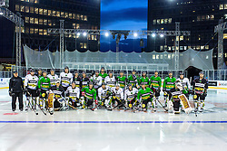 Players at first practice before Ice Fest 2014 on Repulic Square for Winter Classic of HDD Telemach Olimpija called Pivovarna Union Ice Fest 2014, on December 15, 2014 on Republic Square, Ljubljana, Slovenia. (Photo By Matic Klansek Velej / Sportida.com)