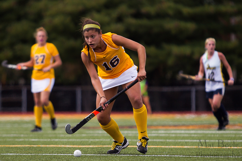 Rowan University Sophomore Midfield Marisa Marini (16);  Rowan University Field Hockey vs Neumann University at Coach Richard Wacker Stadium in Glassboro, NJ on Saturday September 28, 2013. (photo / Mat Boyle)