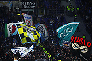 Lazio supporters show their team flags during the UEFA Europa League, Group E football match between SS Lazio and CFR Cluj on November 28, 2019 at Stadio Olimpico in Rome, Italy - Photo Federico Proietti / ProSportsImages / DPPI