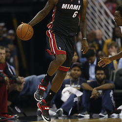 Mar 22, 2014; New Orleans, LA, USA; Miami Heat forward LeBron James (6) against the New Orleans Pelicans during the first quarter of a game at the Smoothie King Center. Mandatory Credit: Derick E. Hingle-USA TODAY Sports