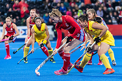 Elena Rayner of Great Britain Women is watched by Zixia Ou of China Women during the 2019 Women's FIH Pro League match at Lee Valley Hockey Centre, Stratford<br /> Picture by Simon Parker/Focus Images Ltd <br /> 03/05/2019