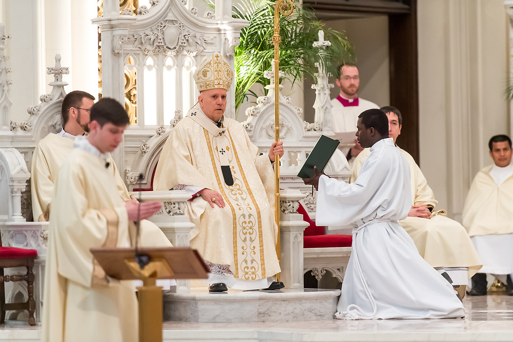 DENVER, CO - MARCH 2: Denver Archbishop Samuel J. Aquila presides over the transitional deacon ordination at the Cathedral Basilica of the Immaculate Conception on March 2, 2019, in Denver, Colorado. (Photo by Daniel Petty/for Denver Catholic)