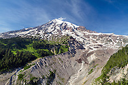 Mount Rainier and the terminus of the Nisqually Glacier in Mount Rainier National Park, Washington State, USA