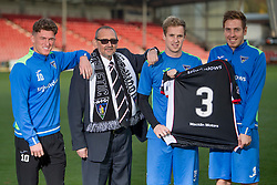 Cancer survivor shares story with Sir Alex Ferguson. East End Park. Dunfermline 31/10/2016<br /><br />Cancer survivor Tom Hart shares story with Sir Alex Ferguson. A man who was diagnosed with lung cancer will share his story with Sir Alex Ferguson to mark the start of Lung Cancer Awareness Month. Dunfermline Athletic FC, East End Park<br />L-R Dunfermline players David Hopkirk (Tom Hart) Euan Spark and Lewis Martin<br />(c)Craig Brown| Edinburgh Elite media
