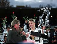 16.10.1999, Valkeakoski, Finland. .Veikkausliiga / Finnish League, FC Haka v HJK Helsinki. .FC Haka captain Tero Penttil? receives the Finnish League Championship trophy..©JUHA TAMMINEN