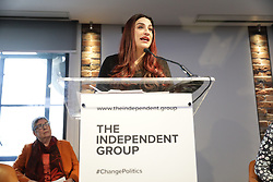 © Licensed to London News Pictures. 18/02/2019. London, UK. MP Luciana Berger attends an event in Westminster, London. They have announced the formation of a new political party, The Independent Group, formed by breakaway Labour MPs who disagree with Labour Party action on Brexit. Photo credit: Rob Pinney/LNP