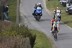 March 25, 2018 - Wevelgem, BELGIUM - The group of leaders with Belgian Jelle Wallays of Lotto Soudal, Belgian Julien Vermote of Team Dimension Data, Luxembourgian Alex Kirsch of WB Veranclassic Aqua Protect and Russian Viacheslav Kuznetsov of Katusha-Alpecin pictured in action during the 80th edition of the Gent-Wevelgem cycling race, 251,1 km from Deinze, near Gent, to Wevelgem, Sunday 25 March 2018...BELGA PHOTO DIRK WAEM (Credit Image: © Dirk Waem/Belga via ZUMA Press)