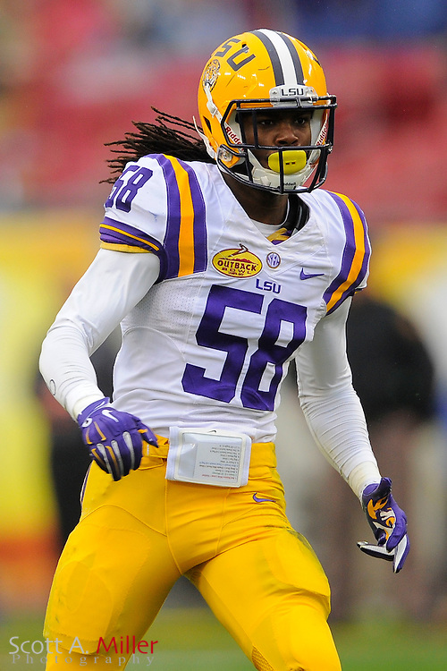 LSU Tigers  linebacker Tahj Jones (58) during LSU's 21-14 win over the Iowa Hawkeyes in the 2014 Outback Bowl at Raymond James Stadium on Jan 1, 2014  in Tampa, Florida. ©2014 Scott A. Miller