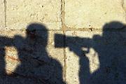 Israel, Jerusalem silhouette of photographers on the walls of Jerusalem stone