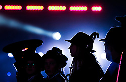 10.01.2016, Schladming, AUT, Special Olympics Pre-Games in Graz-Schladming-Ramsau, Eröffnungsfeier im WM-Park Planai, im Bild Silhouetten von Musikanten // silhouettes of musicians during the opening ceremony of the Special Olympics Pre-Games in Schladming, Austria on 2016/01/10. EXPA Pictures © 2016, PhotoCredit: EXPA / Martin Huber