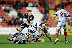Bristol Rugby's replacement scrum half, Luke Baldwin closes down London Scottish fly half, new signing Connor Braid - Photo mandatory by-line: Dougie Allward/JMP - Mobile: 07966 386802 - 05/12/2014 - SPORT - Rugby - Bristol - Ashton Gate - Bristol Rugby v London Scottish - B&I Cup