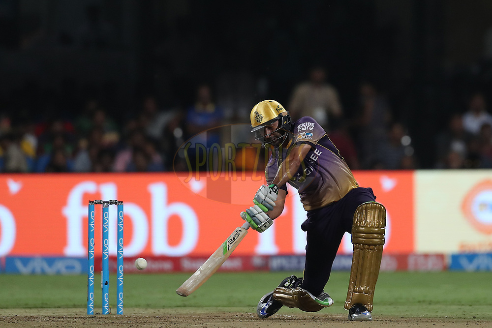 Ishank Jaggi of the Kolkata Knight Riders during the 2nd qualifier match of the Vivo 2017 Indian Premier League between the Mumbai Indians and the Kolkata Knight Riders held at the M.Chinnaswamy Stadium in Bangalore, India on the 19th May 2017<br /> <br /> Photo by Ron Gaunt - Sportzpics - IPL