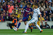 20 Sergi Roberto from Spain of FC Barcelona defended by 14 Casemiro from Brazil of Real Madrid during the Spanish championship La Liga football match between FC Barcelona and Real Madrid on May 6, 2018 at Camp Nou stadium in Barcelona, Spain - Photo Xavier Bonilla / Spain ProSportsImages / DPPI / ProSportsImages / DPPI