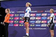 Podium Women time trial, Anna Van der Breggen (Netherlands) silver medal medal, Ellen van Dijk (Netherlands) gold medal and Trixi Worrack (Germany) bronze medal during the Road Cycling European Championships Glasgow 2018, in Glasgow City Centre and metropolitan areas Great Britain, Day 7, on August 8, 2018 - Photo Laurent Lairys / ProSportsImages / DPPI
