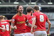 Nottingham Forest midfielder Henri Lansbury (10) celebrating scoring his second goal 1-3 during the Sky Bet Championship match between Fulham and Nottingham Forest at Craven Cottage, London, England on 23 April 2016. Photo by Matthew Redman.
