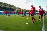 Sunderland warm up during the EFL Sky Bet League 1 match between Wycombe Wanderers and Sunderland at Adams Park, High Wycombe, England on 19 October 2019.