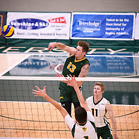 4th year outside hitter Brennan Goski (13) of the Regina Cougars in action during Men's Volleyball home game on November 3 at Centre for Kinesiology, Health and Sport. Credit: Casey Marshall/Arthur Images