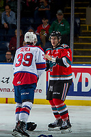 KELOWNA, CANADA - NOVEMBER 14: James Hilsendager #2 of the Kelowna Rockets drops the gloves with Ty Gerla #39 of the Edmonton Oil Kings on November 14, 2017 at Prospera Place in Kelowna, British Columbia, Canada.  (Photo by Marissa Baecker/Shoot the Breeze)  *** Local Caption ***