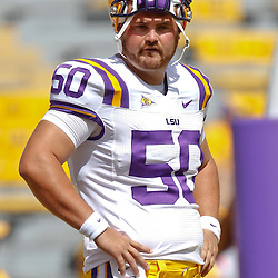 October 8, 2011; Baton Rouge, LA, USA; LSU Tigers long snapper Joey Crappell (50) prior to kickoff of a game against the Florida Gators at Tiger Stadium.  Mandatory Credit: Derick E. Hingle-US PRESSWIRE / © Derick E. Hingle 2011
