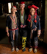 Sa Mei, Andrea Johnson & Man May Lo 2017 inside her home at village outside of Sapa, Northern hill tribe areas, Vietnam