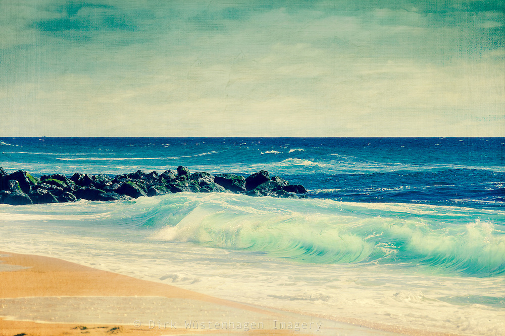Turquoise colored wave breaking on a beach.<br /> Prints: http://society6.com/DirkWuestenhagenImagery/Saltwater-Fresh_Print