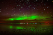 Northern lights or aurora borealis on Lake Winnipeg<br /> Patricia Beach<br /> Manitoba<br /> Canada