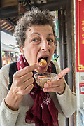Open air food market in Chengdu, Sichuan, China. Model release available