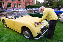 © Licensed to London News Pictures. 25/08/2018. Warwick, UK. The Midget & Sprite Club celebrated the 60th anniversary of the first Frogeye Sprite. Over 300 Sprites and Midgets arrived in Warwick to take part in a gala dinner and 100 mile drive through the Cotswolds. Pictured, mellow yellow, a Sprite owner at one with his car. Photo credit: Dave Warren/LNP