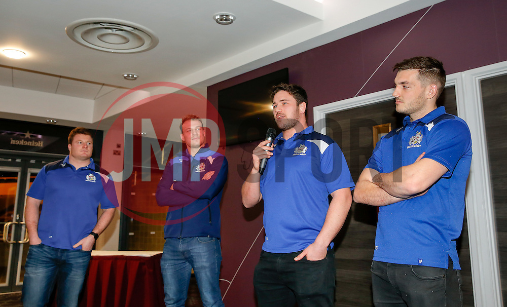 Marc Jones of Bristol Rugby speaks during a Q&A at the Player Sponsors' Dinner in the Heineken Lounge at Ashton Gate - Mandatory byline: Rogan Thomson/JMP - 08/02/2016 - RUGBY UNION - Ashton Gate Stadium - Bristol, England - Bristol Rugby Player Sponsors' Dinner.