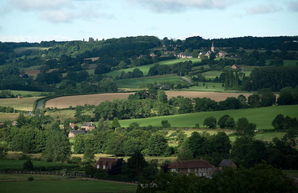 Un paysage de la vall&eacute;e de la Vie. <br /> Heurtevent, France. 31/07/2013.