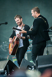 Chris Martin joined Kings of Leon on the main stage.<br /> Sunday at Glasgow Green, BBC Radio 1's Big Weekend Glasgow 2014.