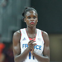 30 July 2012: Emilie Gomis of France is seen during the 74-70 Team France overtime victory over Team Australia, during the women's basketball preliminary, at the Basketball Arena, in London, Great Britain.
