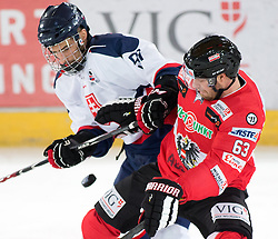 12.02.2016, Olympiaworld, Innsbruck, AUT, Euro Ice Hockey Challenge, Österreich vs Slowakei, im Bild Branislav Rapac (SVK) und Markus Schlacher (AUT) // Branislav Rapac of Slovakia and Markus Schlacher of Austria during the Euro Icehockey Challenge Match between Austria and Slovakia at the Olympiaworld in Innsbruck, Austria on 2016/02/12. EXPA Pictures © 2016, PhotoCredit: EXPA/ Jakob Gruber