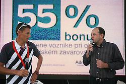 Vasilij Zbogar and Gabrijel Skof, General manager of AdriaticSlovenica at welcome ceremony in Olympic City BTC, on August 23, 2008, in Alea Mladih, BTC, Ljubljana, Slovenia. (Photo by Vid Ponikvar / Sportal Images)./ Sportida)