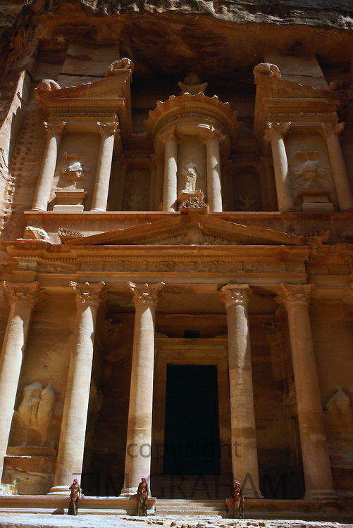 Treasury Building viewed from the Siq at  Petra, Jordan.