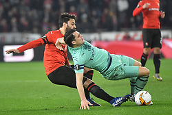 Rennes' Clement Grenier during the UEFA Europa League round of 32 second leg football match between Rennes and Arsenal FC at the at the Roazhon Park stadium in Rennes, Rennes on March 7, 2019. photos by Christian Liewig/ABACAPRESS.COM