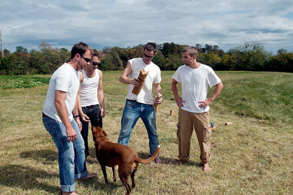 Jed and the guys have a Kubb tournament Friday Sept. 26, 2008 at Field Day Family Farm in Louisville, Ky., before the rehearsal dinner. (Photo by Brian Bohannon)